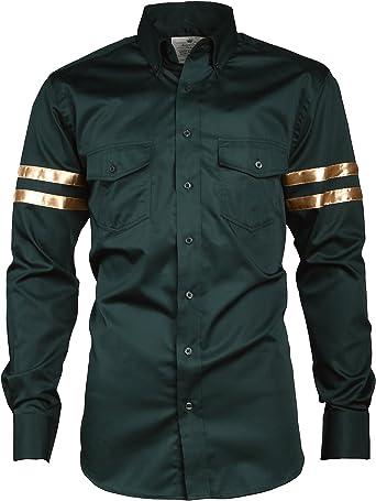 Angel Cola - Camisa de algodón con Botones para Hombre, diseño de Rayas - Verde - Small: Amazon.es: Ropa y accesorios
