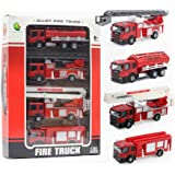 Fire Engine Series Model 1:32 Fire Truck Series Car Artificial Model Toy (Pack of 4) Playset Preschool Learning for Children Toddlers Kids Gift (Gift Package)