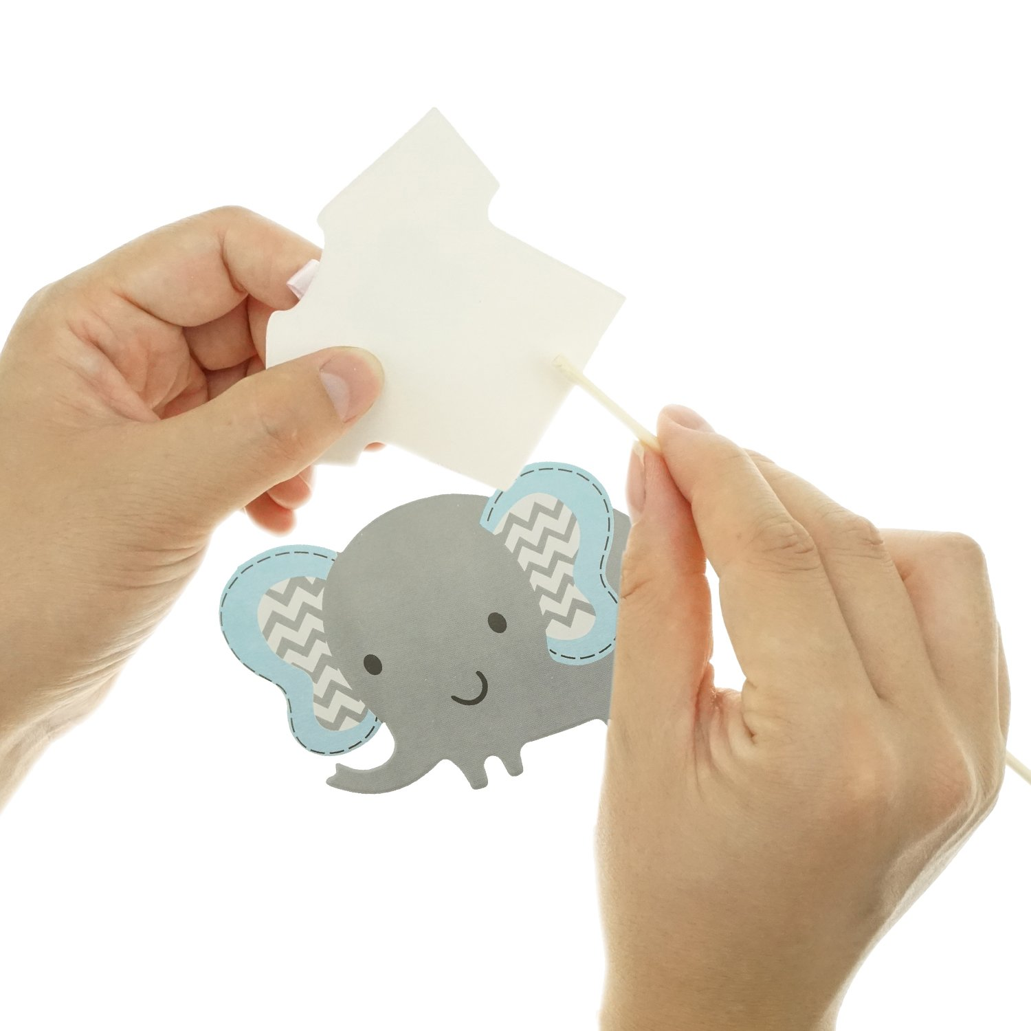 Shxstore Gray and Blue Elephant Cake Cupcake Topper Picks For Its A Boy Baby Shower Birthday Themed Party Decorations Supplies