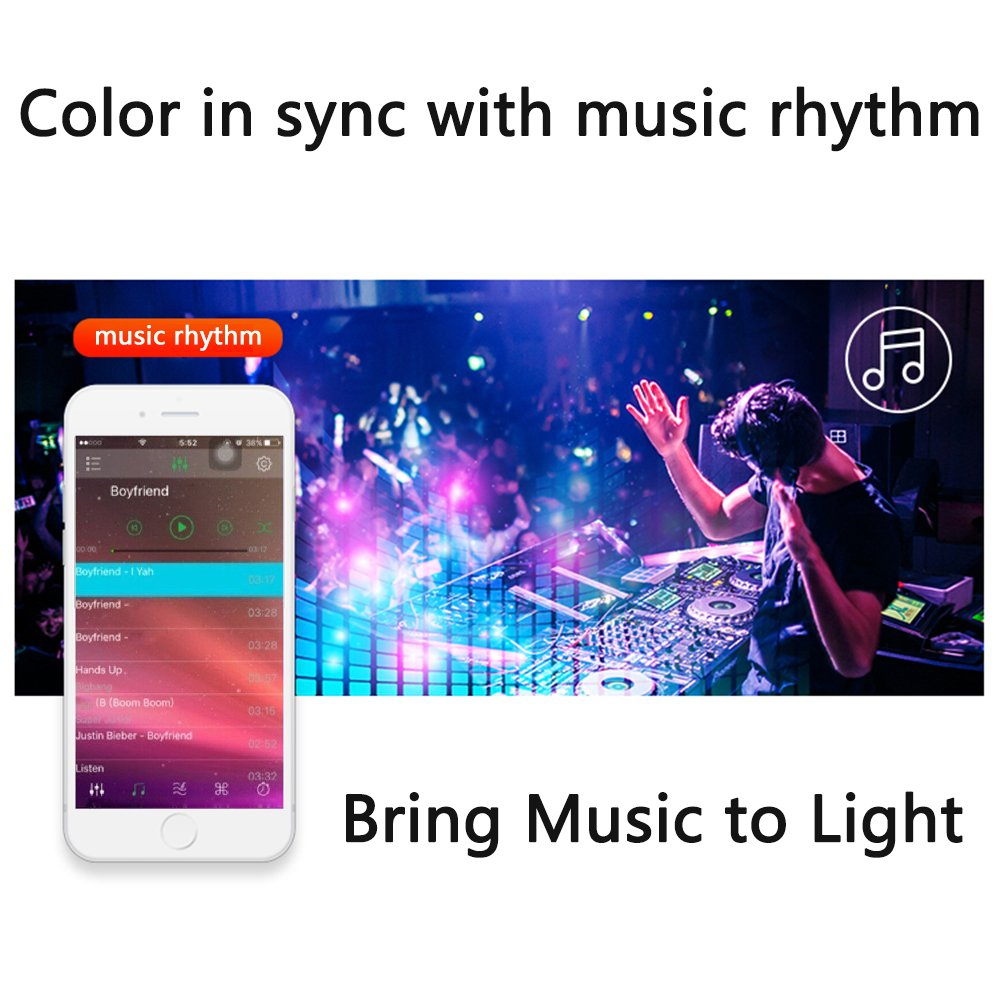 Led strip lights 16.4ft/5mNon-Waterproof LED Lights Kit5050 RGB Rope Lights With Bluetooth Smartphone APP Controller & 12V 3A Power Supply for ios and Android System by TOPMAX (Image #3)