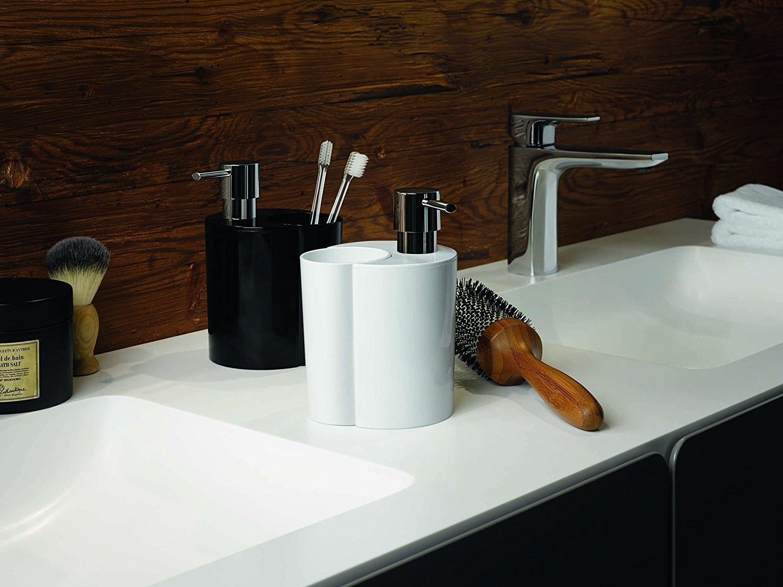 Spirella WC Bürste und Abfalleimer Moon 2in1 24x20,5x40cm Schwarz 10.18148 Toilettenbürste Kosmetikeimer 6 Liter mit Ring zum unsichtbaren einhängen vom Müllbeutel