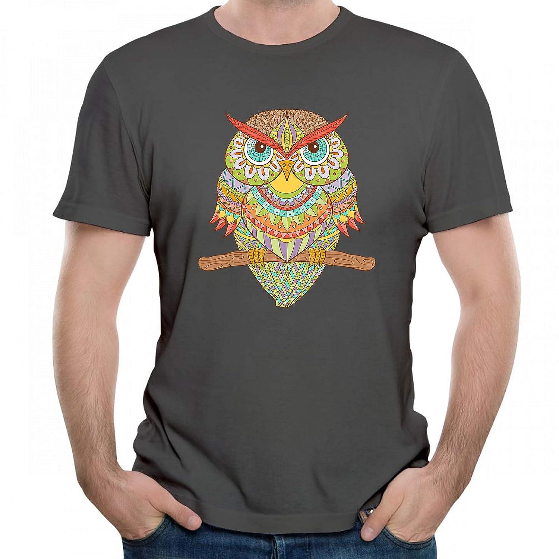 660ab01e Amazon.com: Ornamental Owl in Ethnic Style Graphic Tee Men T Shirt Short  Sleeve: Clothing