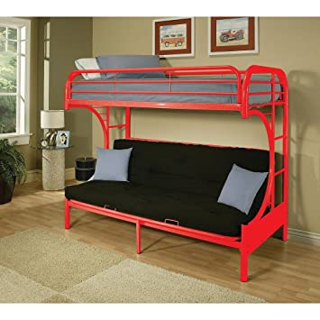 Amazon Com Major Q 7002091rd Red Modern Metal Tube Supported Twin