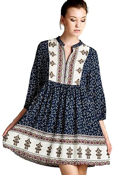 bb4a1f3f6 JODIFL Women s Flowy Peasant Boho 3 4 Sleeve Bohemian Chic Casual Dress   Black   S  at Amazon Women s Clothing store