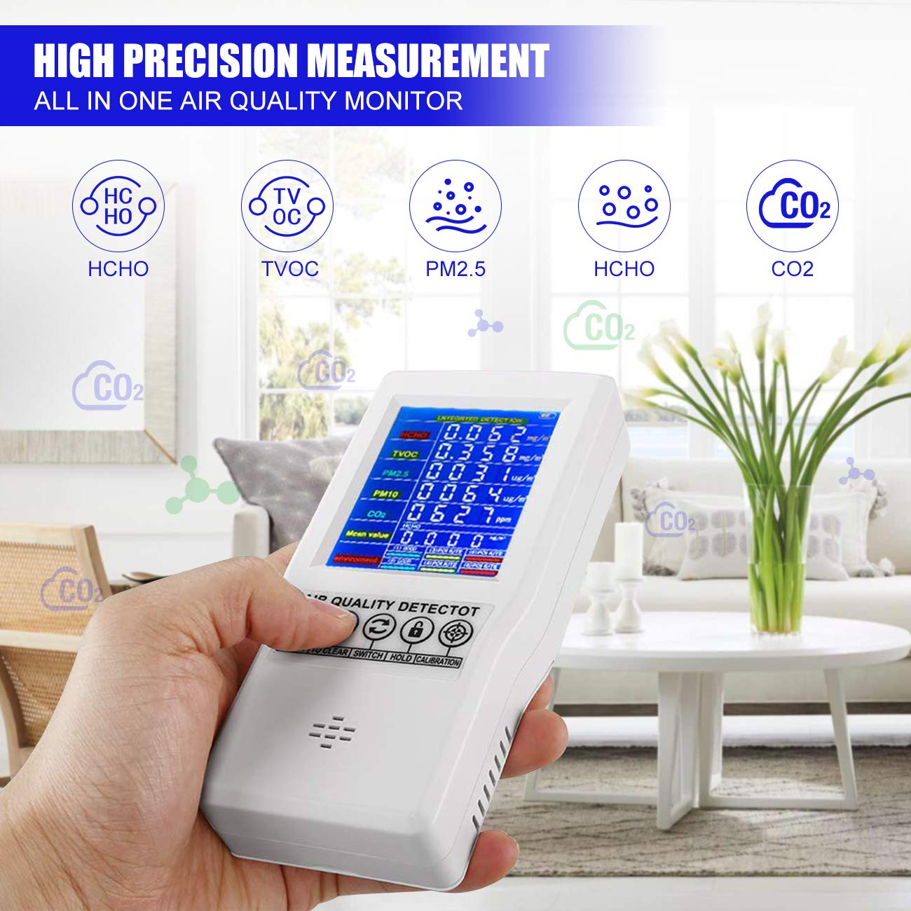 HCHO TVOC PM2.5//PM10 Air Gas Detector Real Time Data/&Mean Value Recording High Precision Air Tester for Home Office WICHEMI Air Quality Monitor Accurate Air Tester for CO2 Formaldehyde