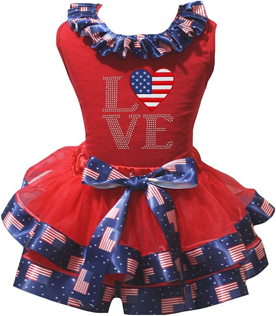 Petitebelle National Heart Cotton Shirt Petal Skirt Outfit Set Nb-8y