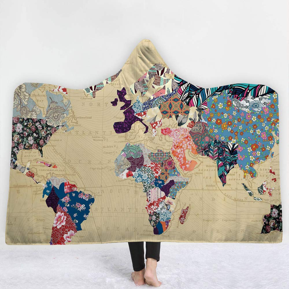 LMTR-blanket Capa Encapuchada Mapa de la Serie Capucha Sombrero Manta Manta Manta Gruesa Manta Capucha Manta Siesta Manta niños Manta