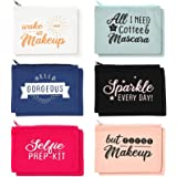 Canvas Cosmetic Bags with Zippers, Travel Makeup Pouches (8 x 6 In, 12 Pack)