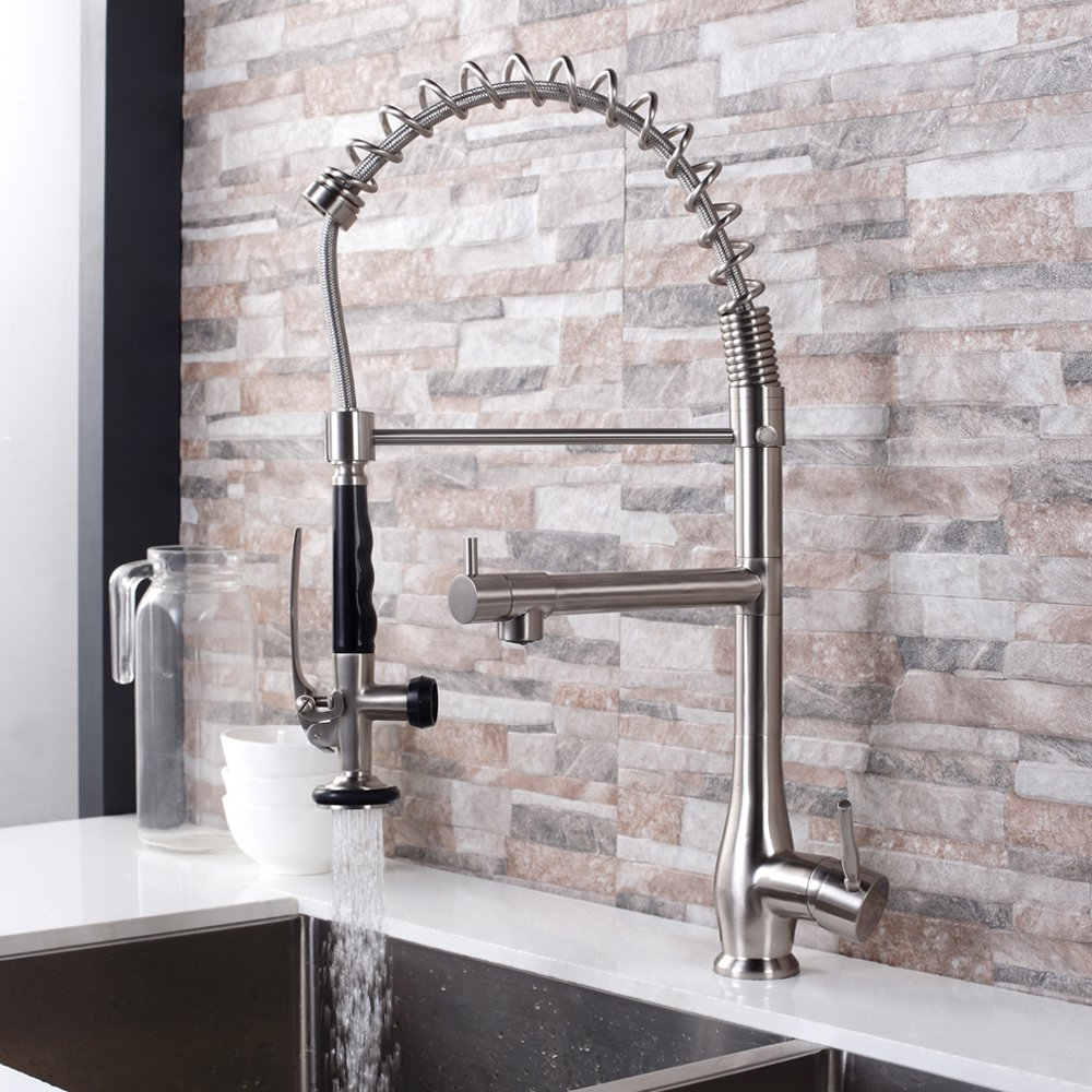 GhomeG Single Handle Pull Down Spray Kitchen Faucet Commercial Style Pre-rinse with Lock Sprayer, Brushed Nickel by GhomeG (Image #3)