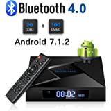 Android TV BOX, Globmall 2018 Model X4 Android 7.1 TV Box 2GB RAM 16GB ROM Amlogic Quad Core A53 processor 64 bits Real 4K Playing[ Bluetooth 4.0]