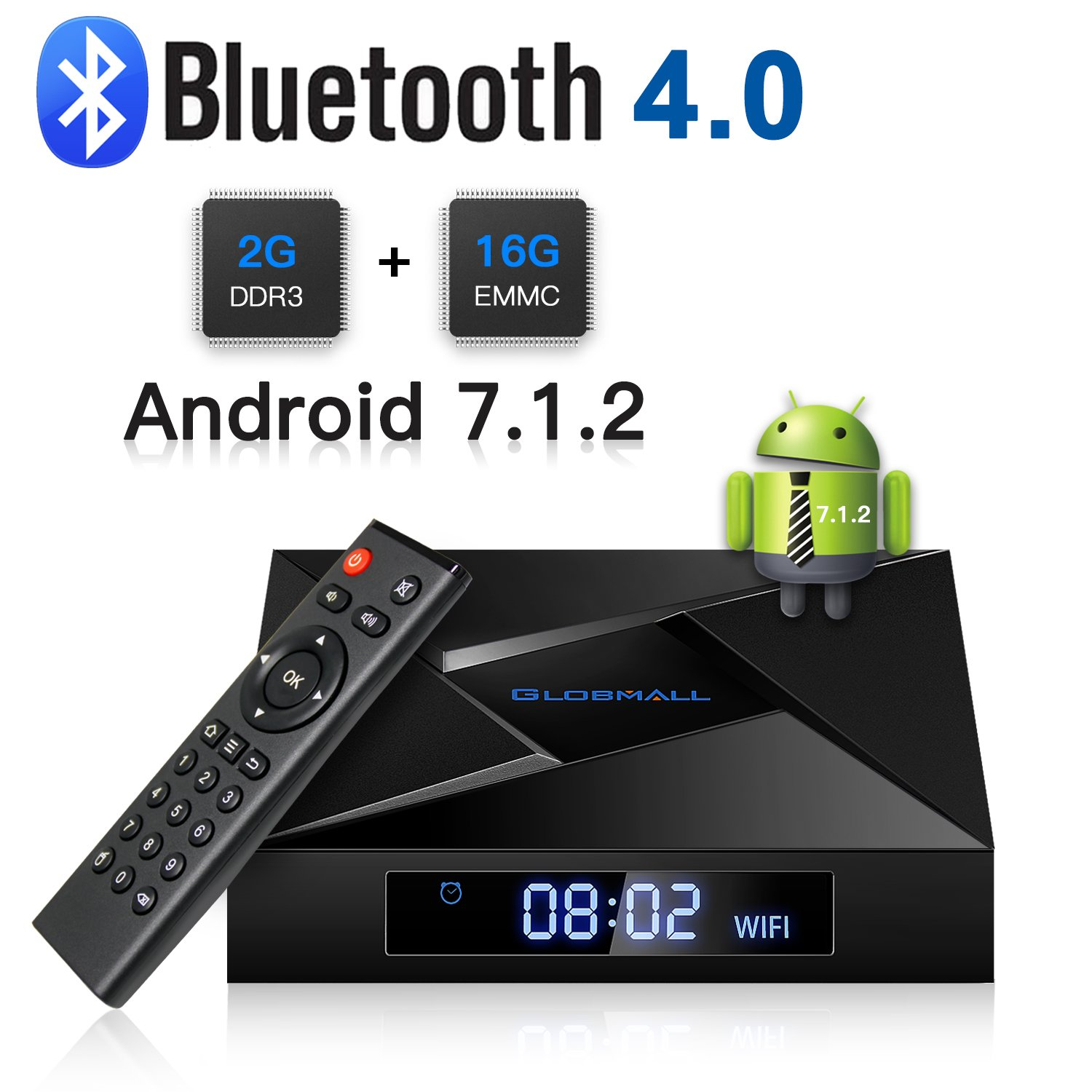 Android TV Box, ABOX 2018 Model X4 Android 7.1 TV Box 2GB RAM 16GB ROM Amlogic Quad Core A53 Processor 64 bits Real 4K Playing[ Bluetooth 4.0] Globmall GlobmallXX4