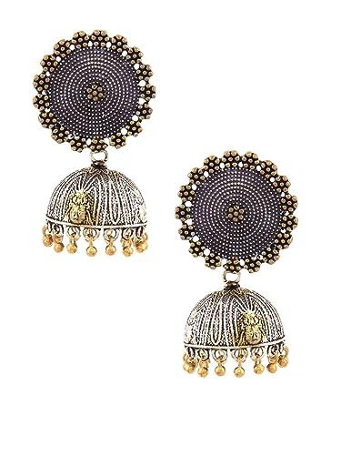 Beautiful Stone Jhumka Earrings Indian Jewelry Silver Oxidized Ethnic Bollywood Stylish Fashionable In Style;
