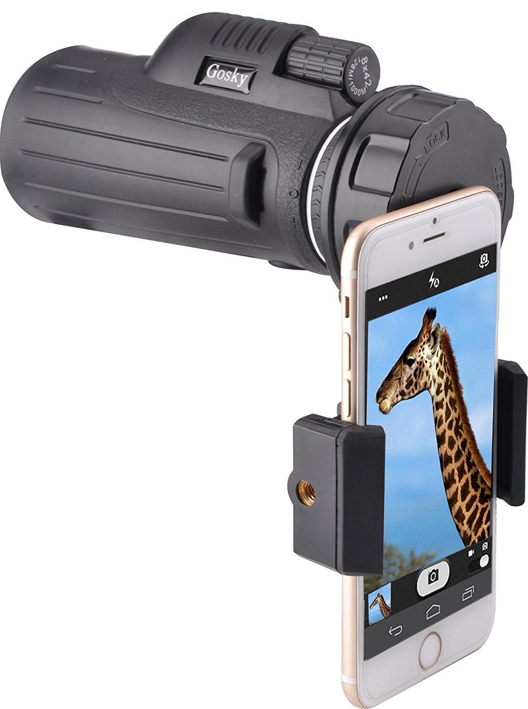 gosky 8x 42monocular compacto Smartphone Kit de adaptador para observación de aves de caza Camping viajar concierto fauna secenery-dual Focus/rápido adaptador de teléfono