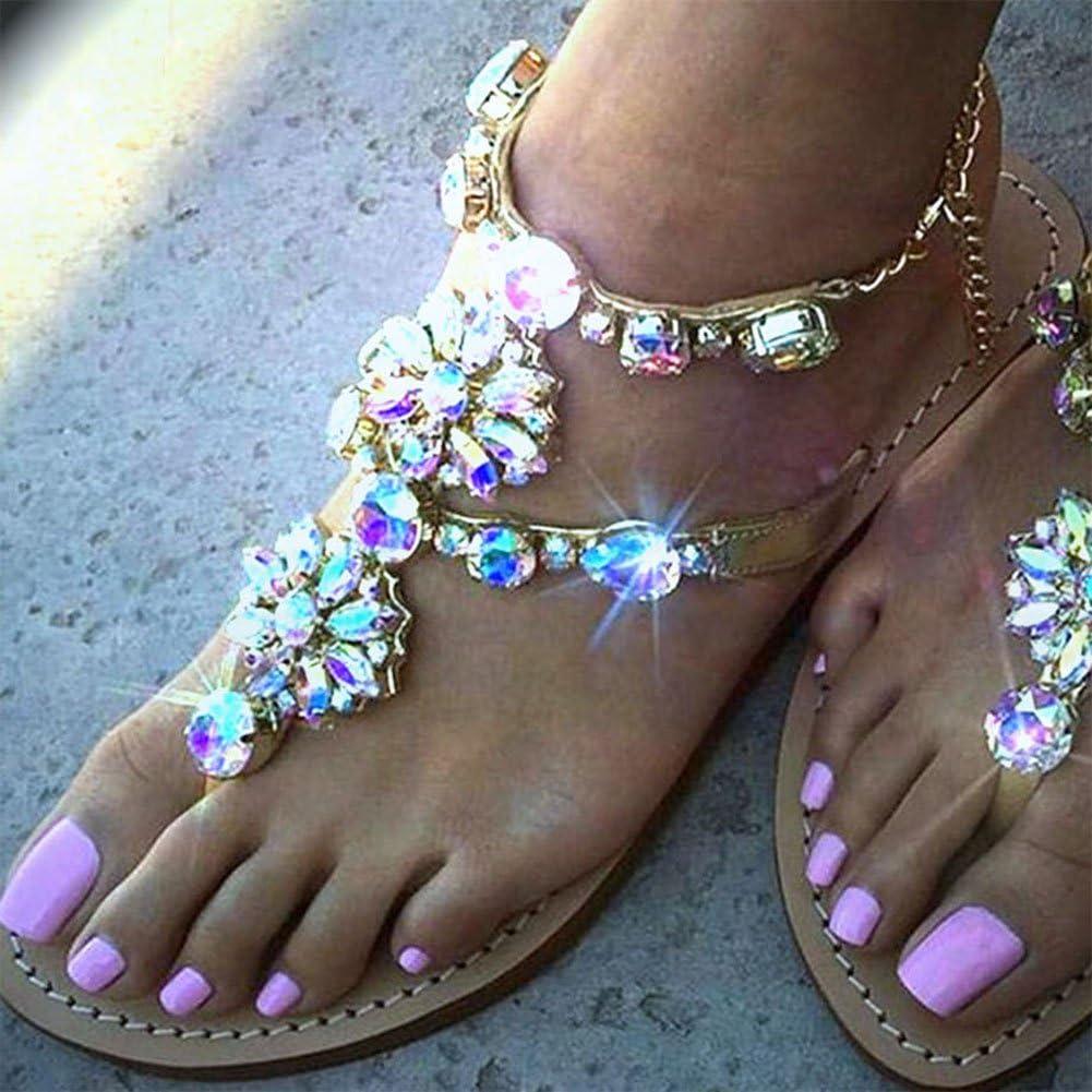 hibote Sandales d'été pour Femme Sandales Plates à Strass