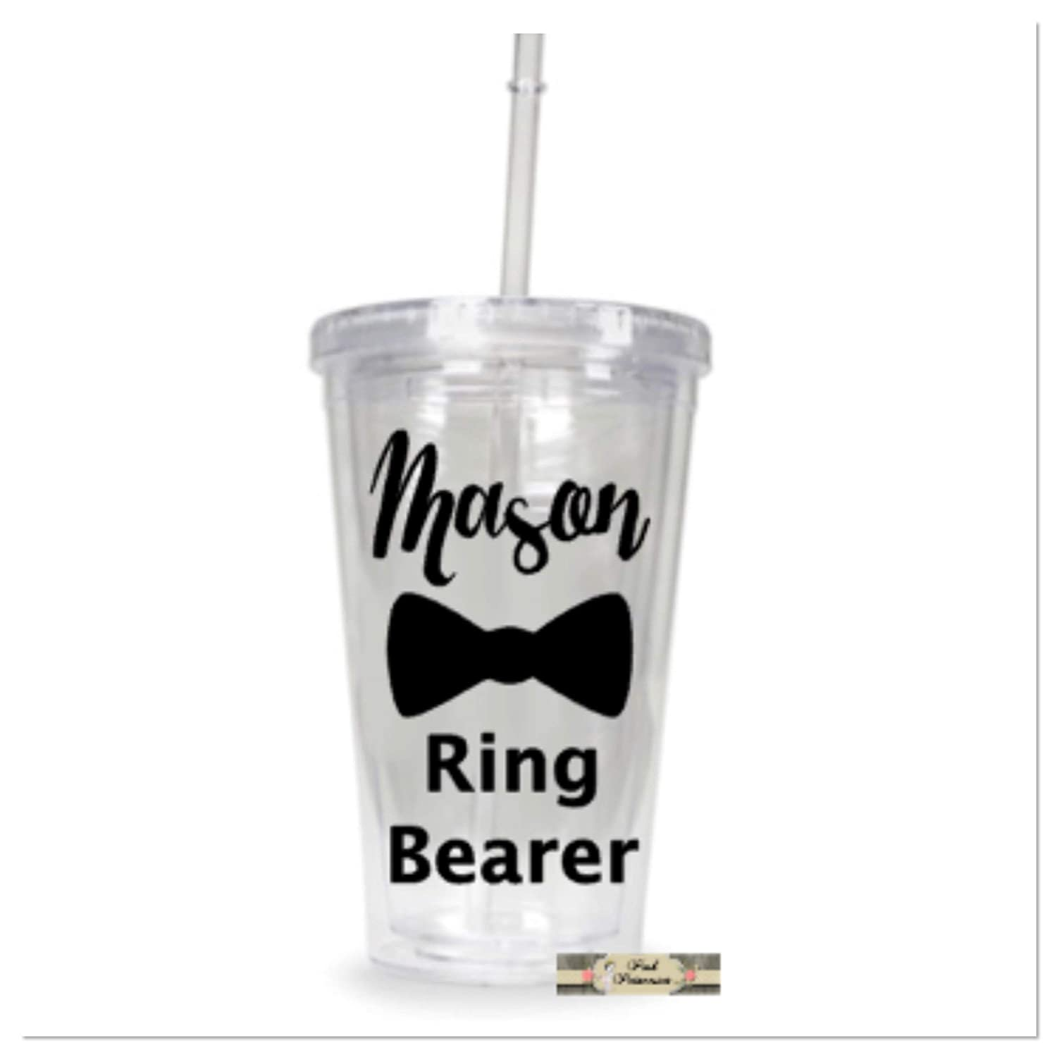 Personalized Ring Bearer Tumbler, Personalized Wedding Cup, Boy Gift, Bridal Shower Gift, Wedding Favors, Any Color Lettering