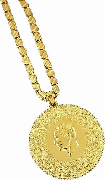Allah Strass Ketten Anhänger inkl lange Goldkette Halskette 24 Karat Vergoldet*