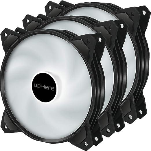 upHere 120mm 3pin LED Blanco Ventilador para Ordenador -Ventilador ...