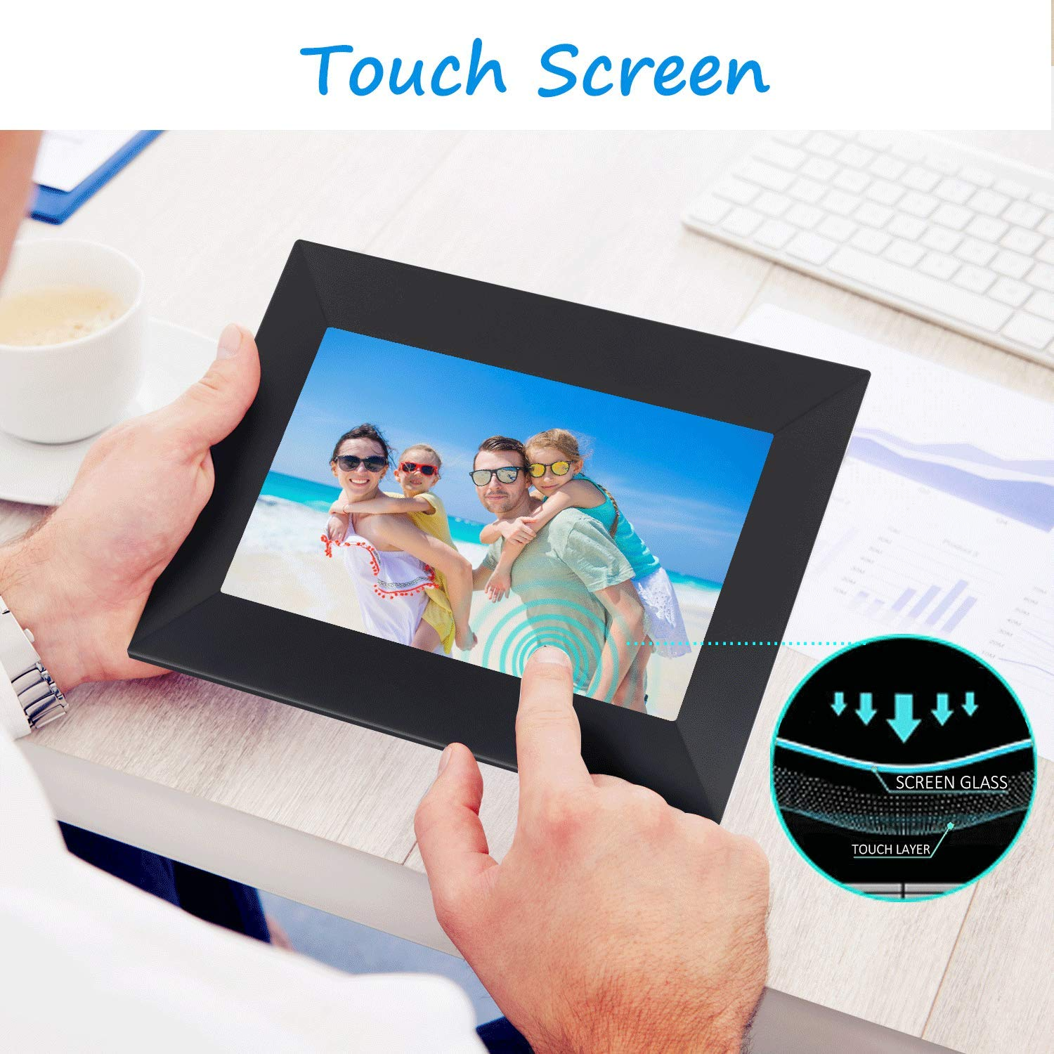 Dhwazz 8 Inch WiFi Digital Photo Frame, IPS Electronic Picture Frame with LCD Touch Screen, 8GB Internal Storage, Wall-Mountable, Display and Share Photos Instantly via Mobile APP by Dhwazz (Image #3)