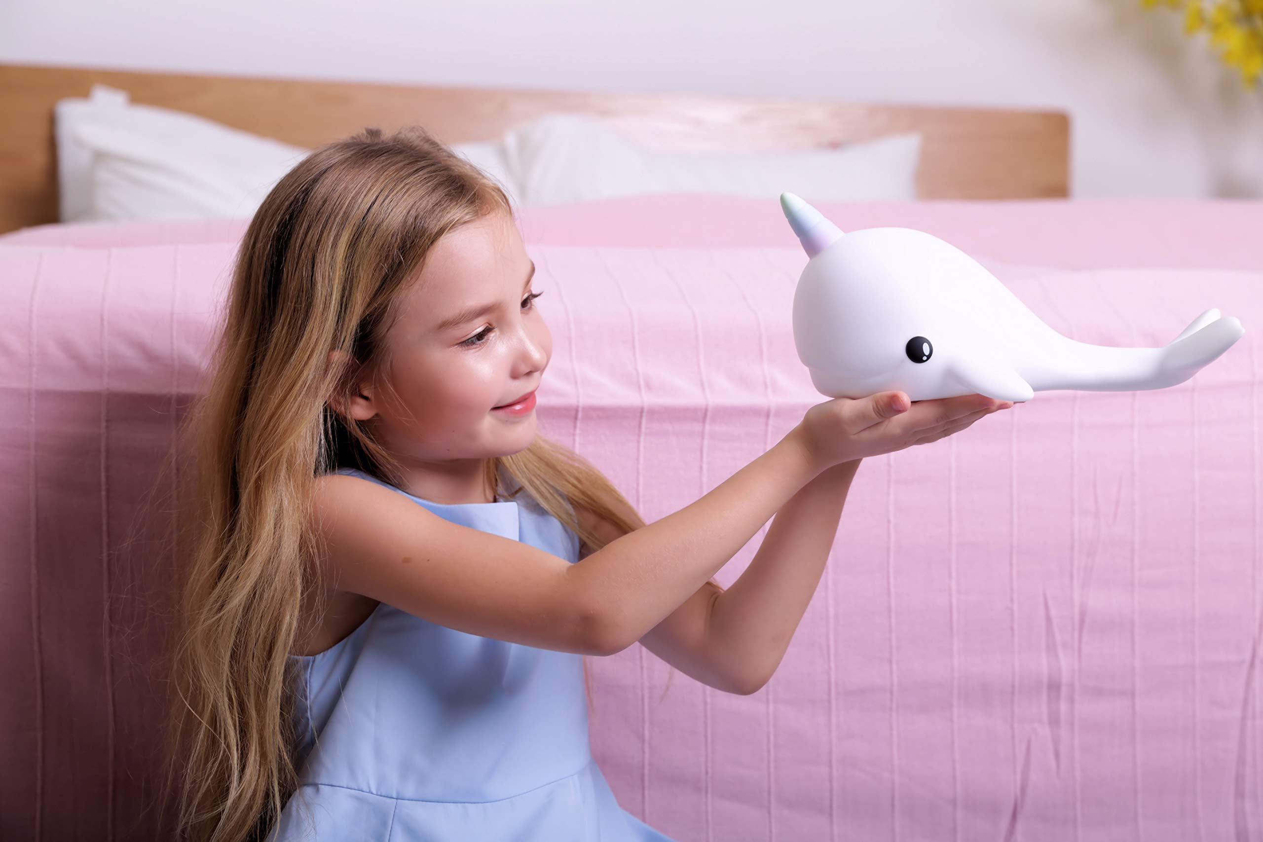 Dhink Narwhal Night Light Touch Lamp Rechargeable with Timer Function and Dimmer- Multi Color and White Light by [D]hink (Image #3)