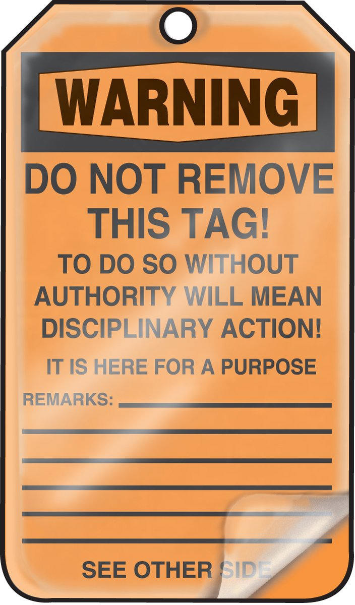 Blank 5.75 Length x 3.25 Width x 0.010 Thickness Accuform MDT300LCP PF-Cardstock Safety Tag Pack of 25 LegendWarning Blank 5.75 Length x 3.25 Width x 0.010 Thickness Black on Orange LegendWarning