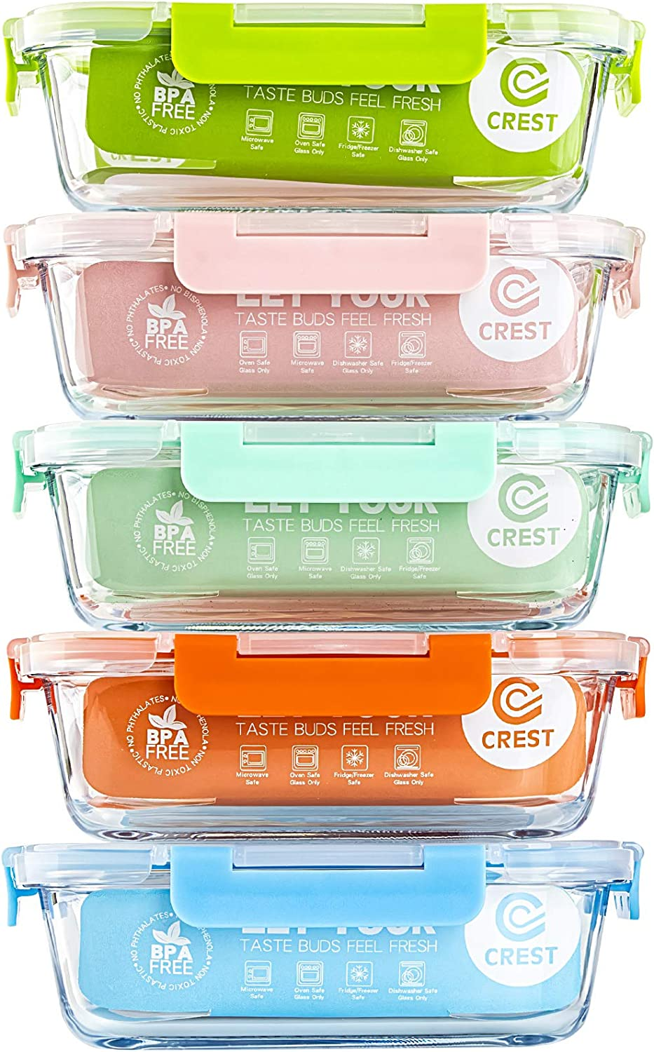 [5-Pack]Glass Lunch Box, Meal Prep Glass Containers with Lids, Glass Food Storage Containers, 34 OZ