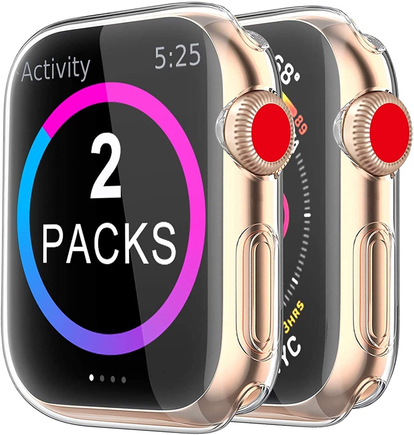 BRG Case for Apple Watch Series 3 2 Screen Protector 42mm, [2 Pack] Soft TPU HD Clear Ultra-Thin Overall Protective Cover Case for iWatch Series 3/2 42mm