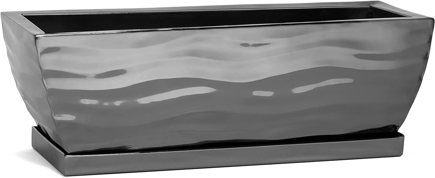 H Potter Succulent Planter Rectangular Plant Pot Small Flower Container Indoor Outdoor Window Box Black Nickel Dimensions 12 x 4 x 4 Inches