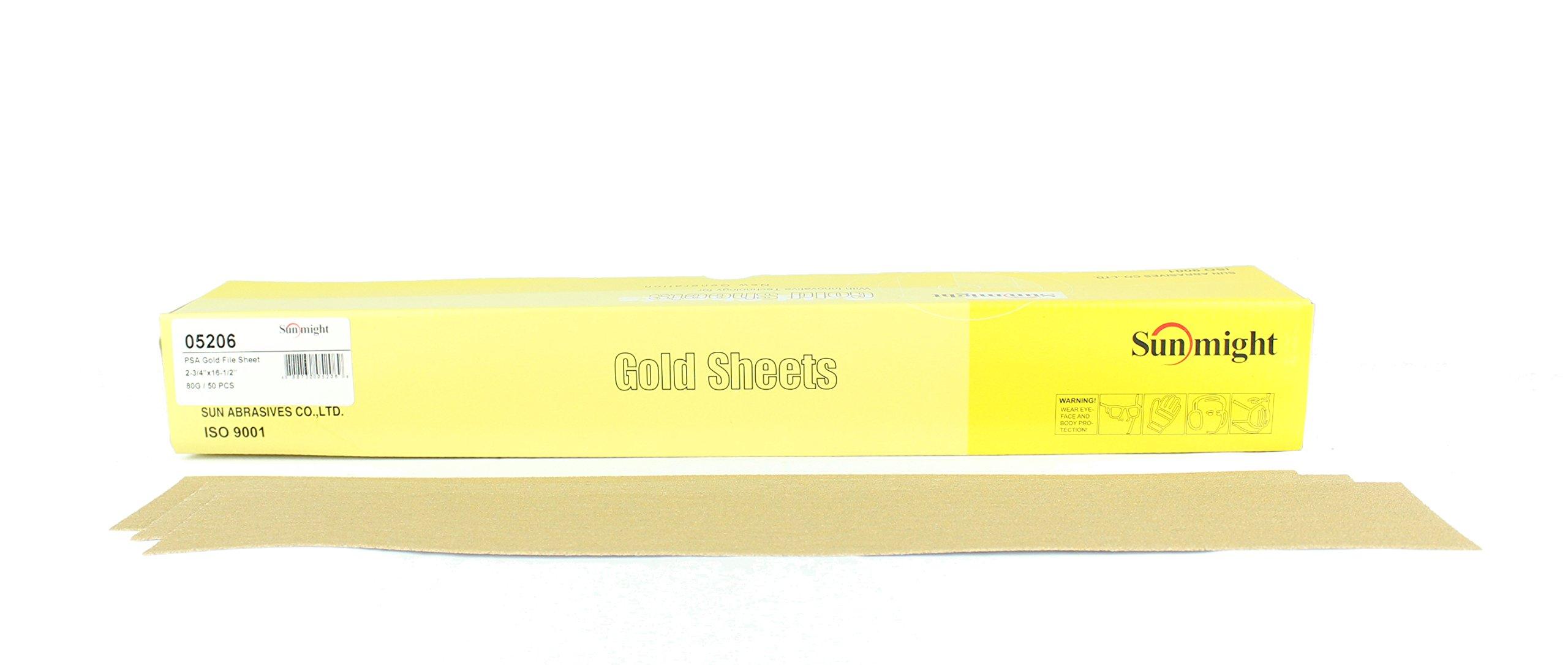 Sunmight 05206 1 Pack 2-3/4'' x 16-1/2'' PSA File Sheet (Gold Grit 80)