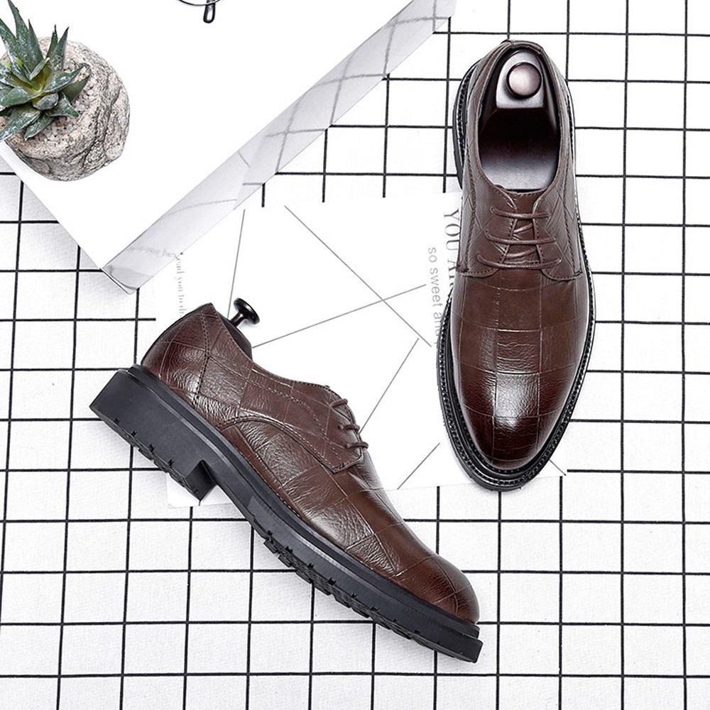 IWGR IWGR IWGR Herren Business PU Leder Schuhe Klassische Lace Up Müßiggänger Quadratische Textur Starke Laufsohle Oxfords Atmungsaktiv  83887d