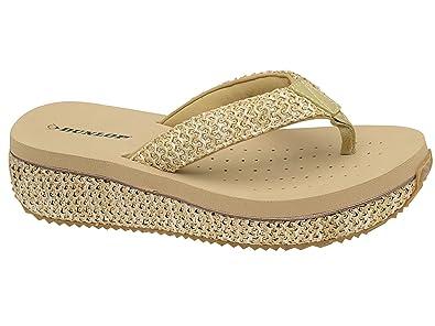 e9d1b6e3f83c46 Ladies Dunlop Toe Post Low Wedge Flip Flops Raffia Beach Summer Sandals  Shoes Size 3-