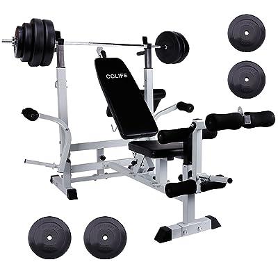 Cclife Banc De Musculation Multifonction Banc Muscu Avec Haltère