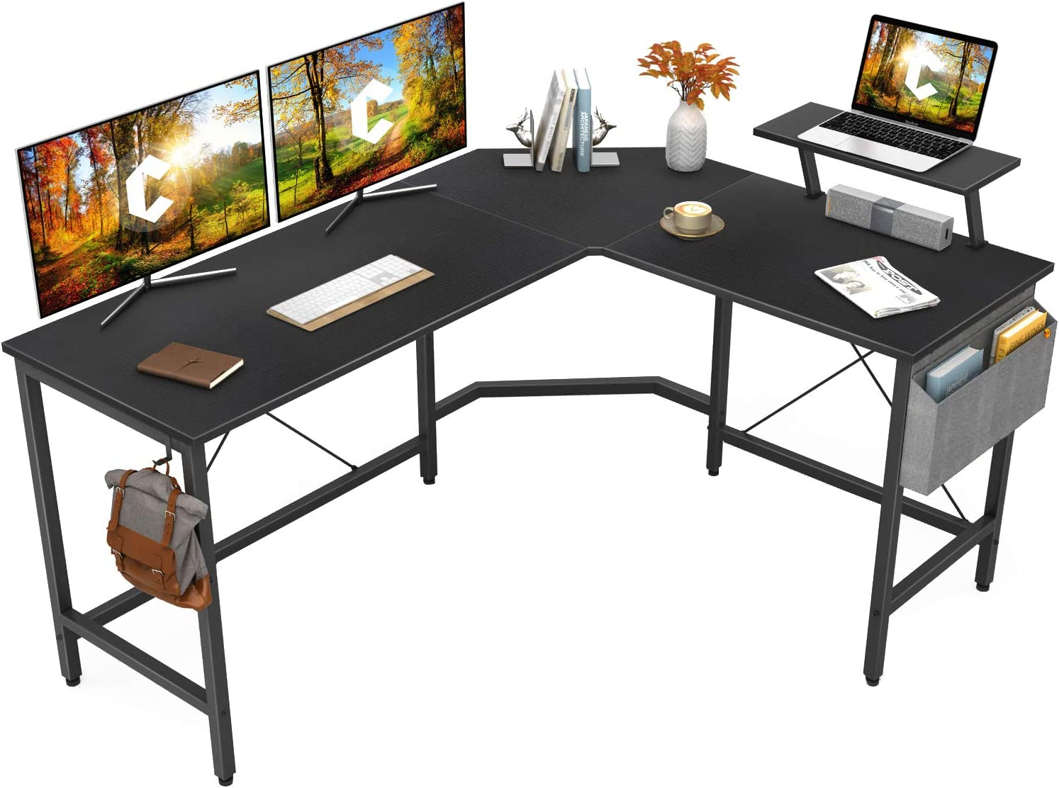 Amazon.com: Cubiker Modern L-Shaped Computer Office Desk, Corner Gaming Desk  with Monitor Stand, Home Office Study Writing Table Workstation for Small  Spaces: Kitchen & Dining