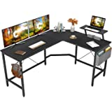 Cubiker Modern L-Shaped Computer Office Desk, Corner Gaming Desk with Monitor Stand, Home Office Study Writing Table Workstat