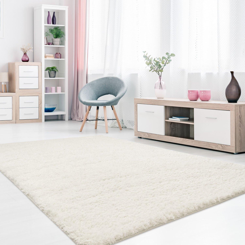 MyShop24h Teppich Hochflor Shaggy Langflor Micro-Polyester Pastel Einfarbig Wohnzimmer Schlafzimmer, Größe in cm 140 x 200 cm, Farbe Weiß