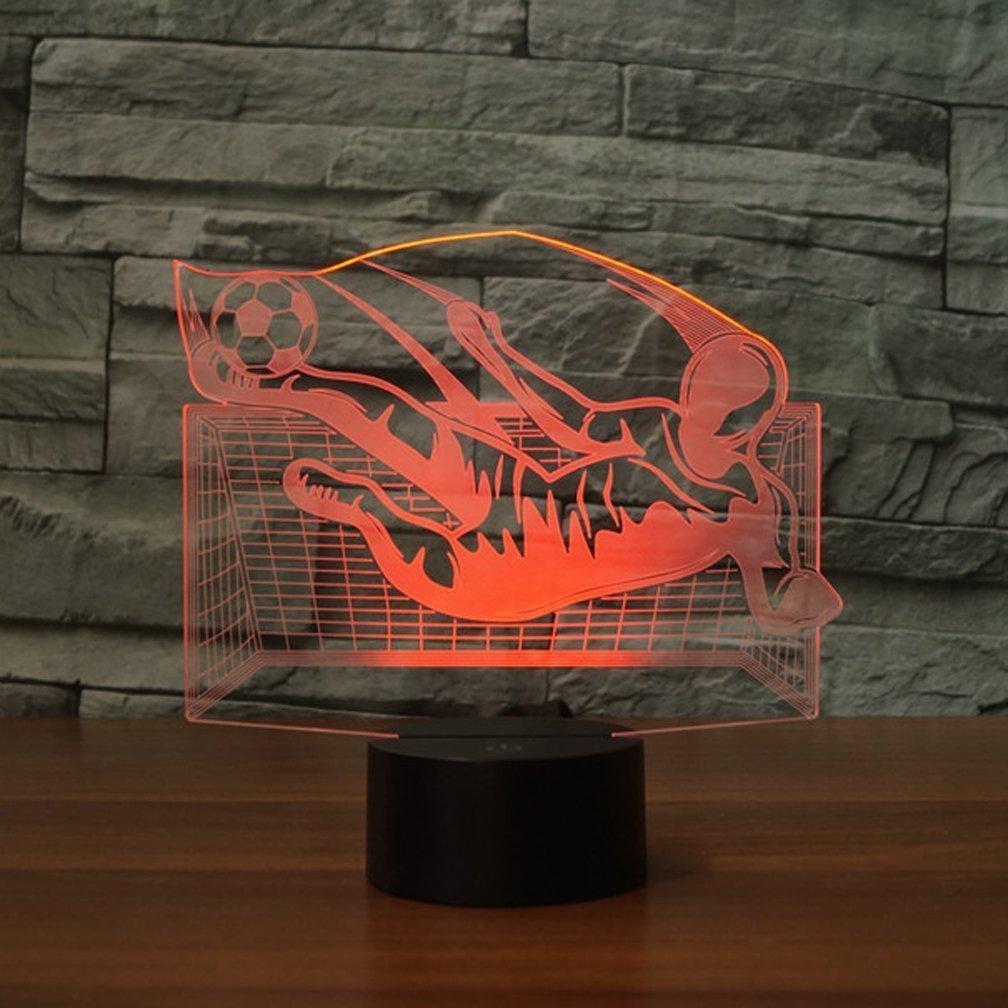 3D Portiere di Calcio Luce Della Notte LED Lampada 7 Cambiamento di Colore Lampada da Tavolo USB Power Interruttore Tattile Giocattoli per Bambini Decor Decorazioni di Natale Regalo di Compleanno