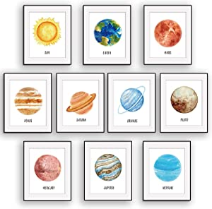 10 Pieces Space Room Decor Outer Space Wall Art Décor Solar Systerm Posters Kids Nursery Bedroom Decor, 8 x 10 Inch Whater Color Wall Art Decoration for Boys and Girls Playroom Bedroom Nursery Room