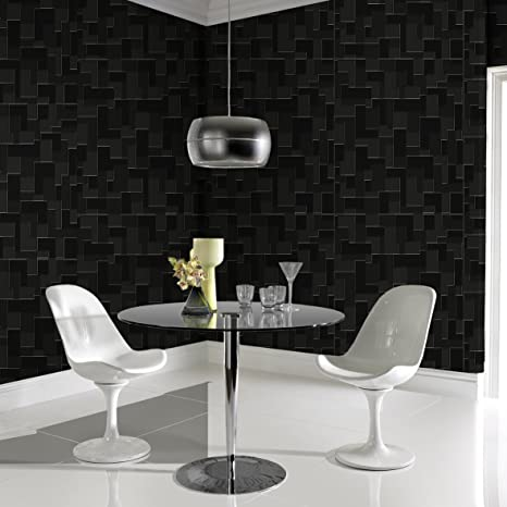Graham Brown Shape And Form Checker Geometric Wallpaper Black