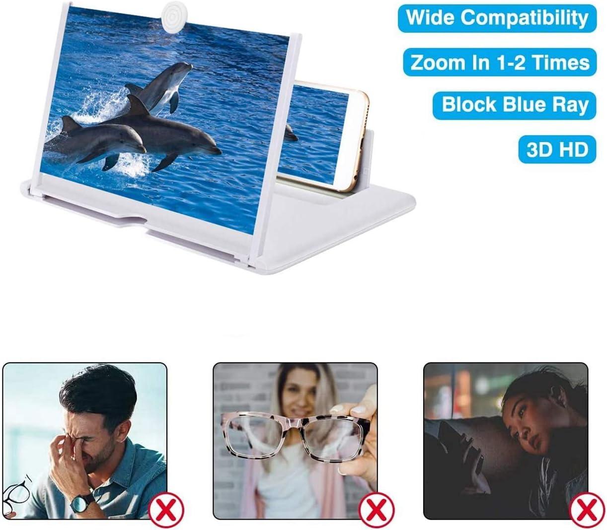 color blanco para todos los smartphones lupa para ver v/ídeos de pel/ícula Eastor Lupa de pantalla para tel/éfono m/óvil 12 pulgadas 3D plegable