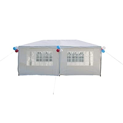 GOJOOASIS Improved Version Canopy Tent Wedding Party Tent with Metal Connectors Outdoor Gazebo White 10' x 20' with 6 Walls : Garden & Outdoor