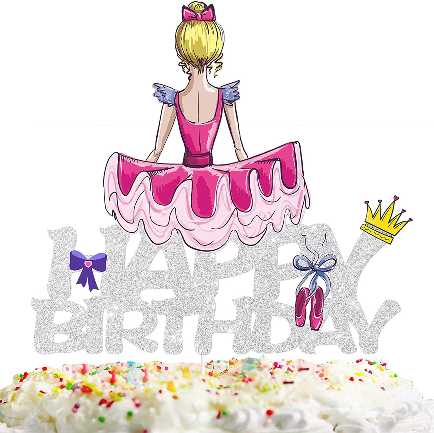 Ballerina Happy Birthday Cake Topper Decorations with Ballet Shoes for Dance Theme Picks for Kids Party Decor Supplies