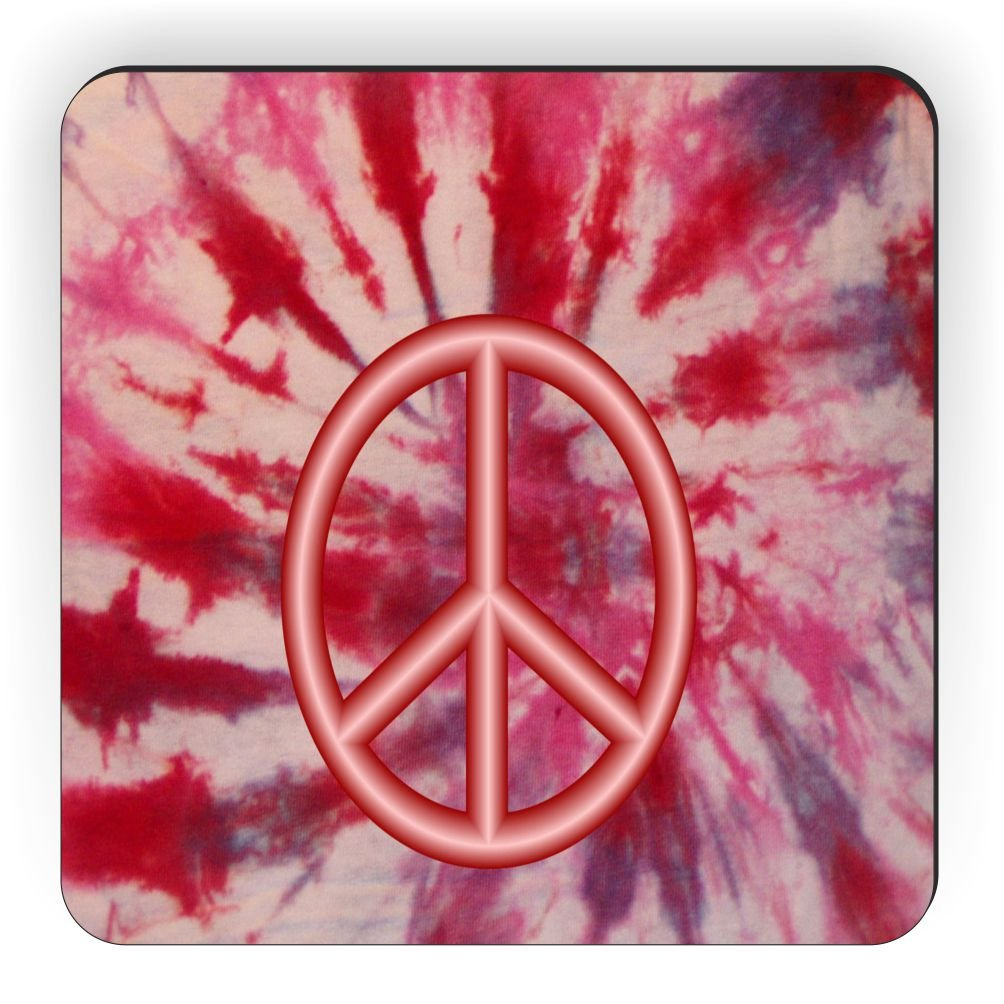 Rikki Knight Peace Logo on Red Tie Die Design Square Fridge Magnet