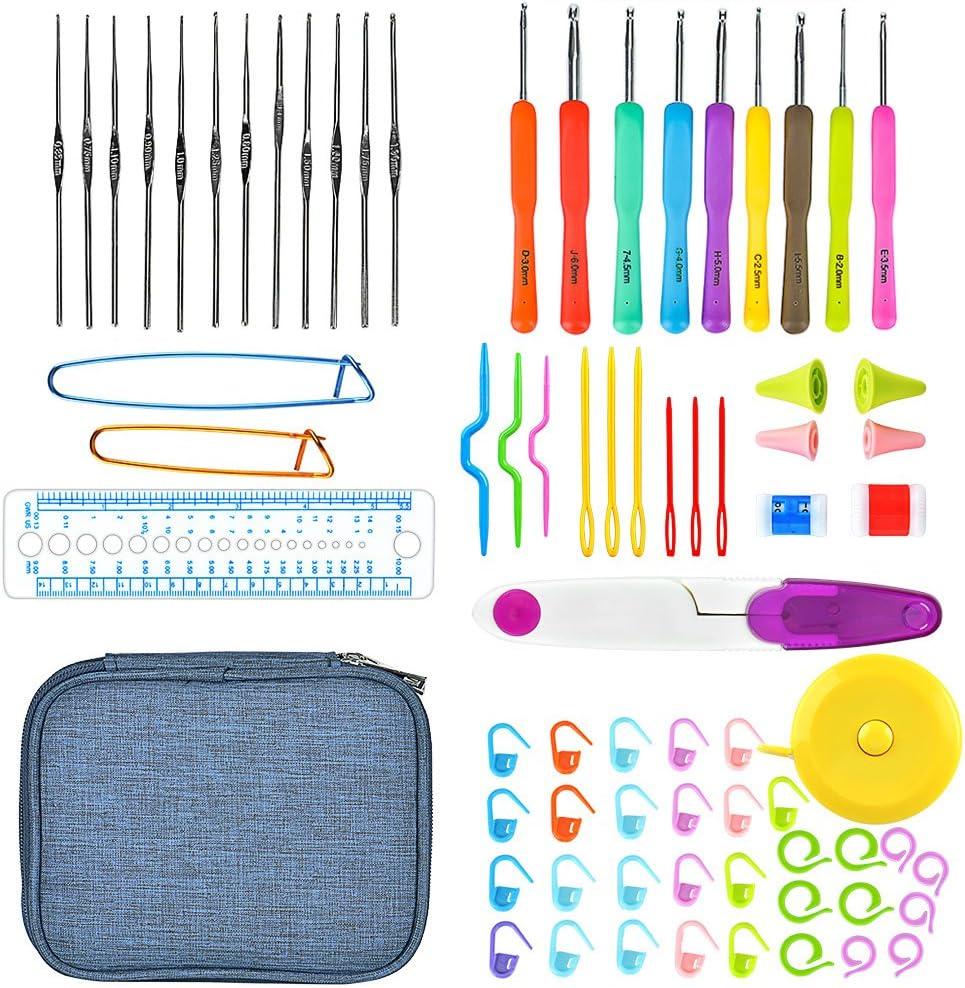 Crochet Hooks Set Aluminum Kit Ergonomics Weave Knitting Needles Plastic Handle
