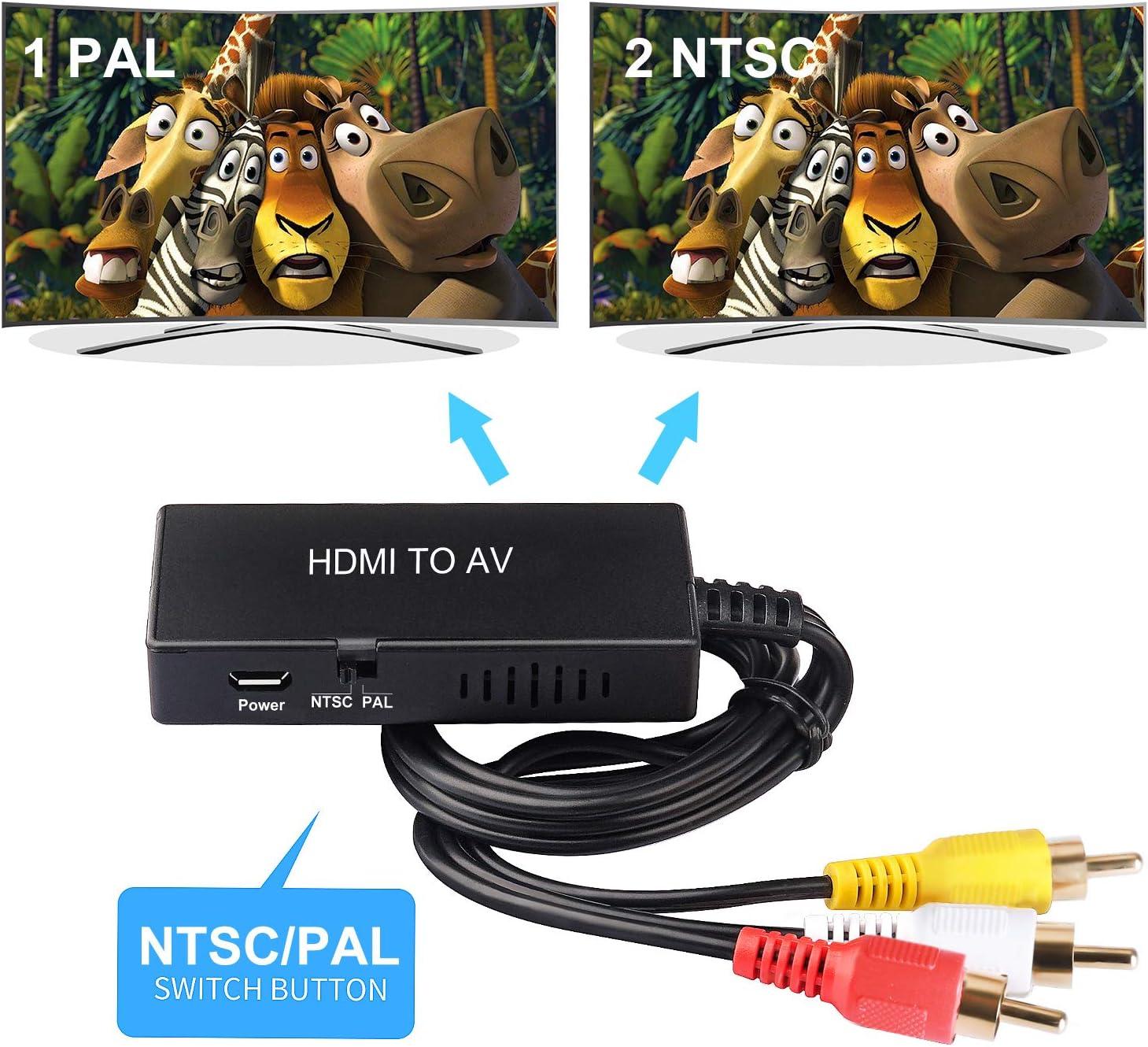 HDMI to RCA Converter, HDMI to AV 3RCA CVBs Composite Video Audio Converter Adapter Supports PAL/NTSC for TV Stick, Roku, Chromecast, Apple TV, PC, Laptop, Xbox, HDTV: Electronics