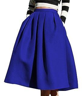 c1b4d6fb94a1 Winfon Femme Jupe Patineuse Taille Haute Vintage Mi Longue Chic Rétro Midi  Jupe Plissée