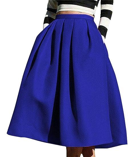 d744b31414a4b Aswinfon Femme Jupe Patineuse Taille Haute Vintage Mi Longue Chic Rétro  Midi Jupe Plissée