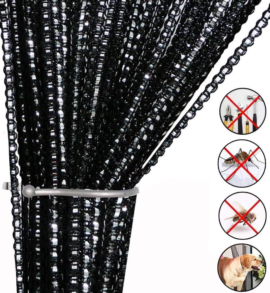 Cortina de cuerdas para puerta con mosca insectos, para separador de puertas o cortina de ventana, 99 x 198 cm