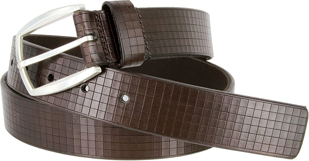 Newbury Italian Genuine Leather Belt With Laser Cut Design Made in USA Mens Lejon Dress Belt