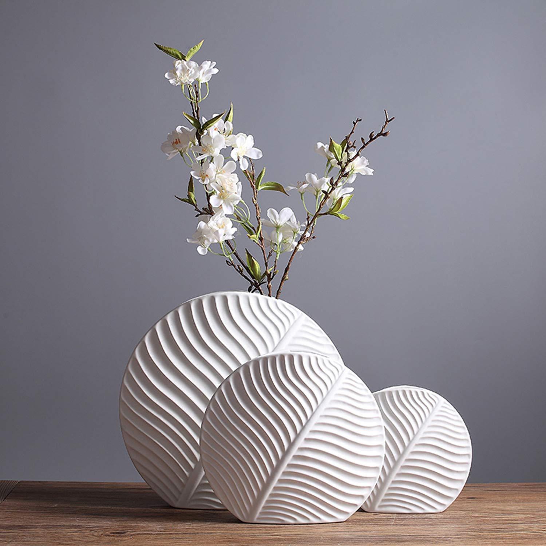 白い陶器の花瓶現代的なミニマリストファッションのリビングルーム花の装飾家の装飾の装飾品3ピースのスーツ B07SJXJ5KG