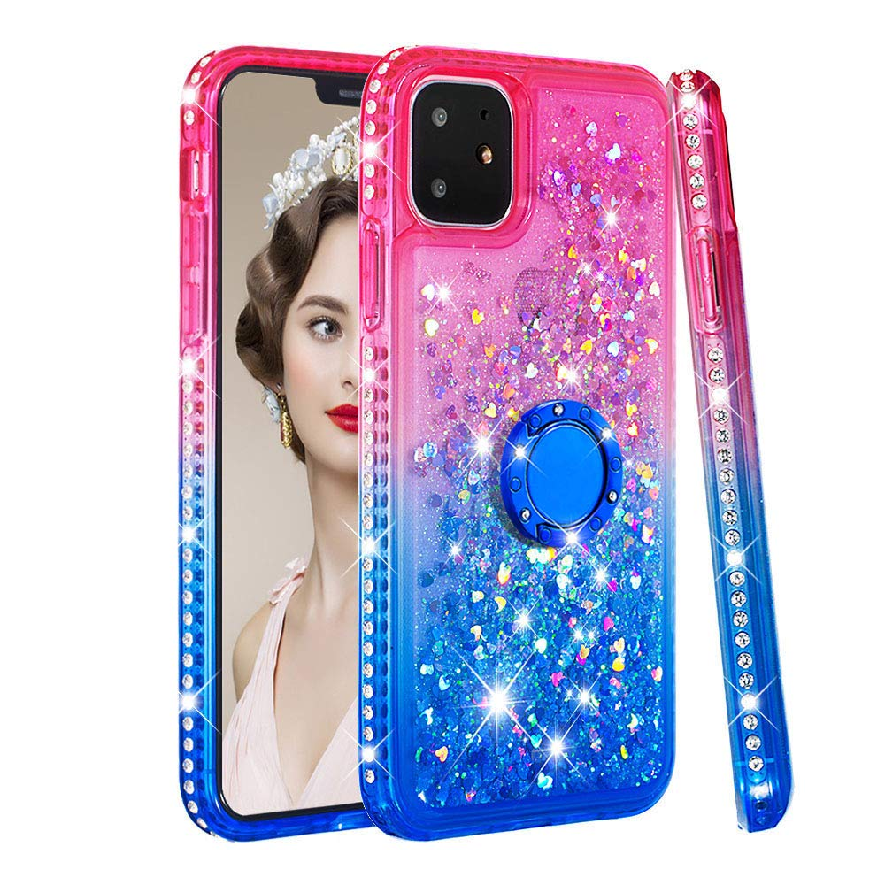 Tznzxm iPhone 11 2019 6.1'' Case, Fashion Glitter TPU Gradient Quicksand Shockproof Bling Diamond Sparkly Defender 360 Finger Kickstand Ring Protective Bumper Case for Apple iPhone 11 Pink/Blue by Tznzxm