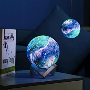 Moon Lamp Moon Night Light Decorative Galaxy Lamp with Stand & Hook, Touch & Remote Control & USB Rechargeable Baby Light Perfect Birthday Holiday Gift for Lover Friends, with Exquisite Gift Box